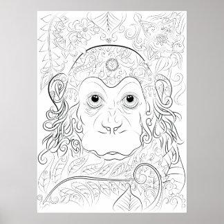 Poster adulto da coloração do macaco da selva