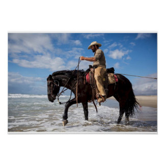 Poster Afixar cow boy cavalo no mar