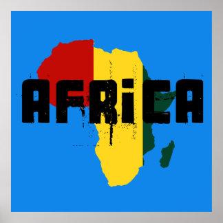 Poster africano do mapa de Ragga África da reggae