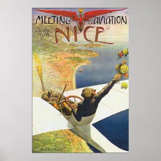 Poster agradável clássico da aviação de France Pôster