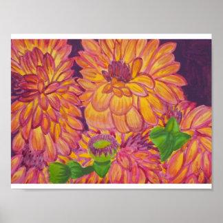 Pôster Aguarela alaranjada, amarela e roxa das dálias