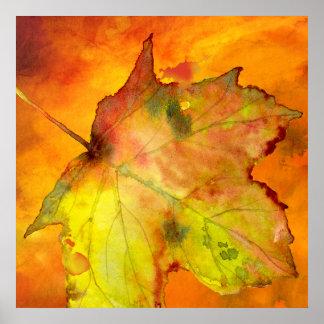 Pôster Aguarela colorida da folha do outono por Ozias.