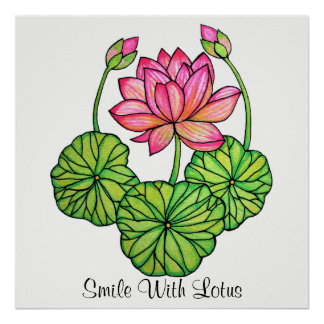 Poster Aguarela Lotus cor-de-rosa com botões & folhas