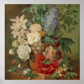 Pôster Ainda vida com flores em um vaso do Terracotta