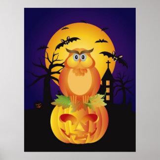 Poster alaranjado da coruja dos desenhos animados