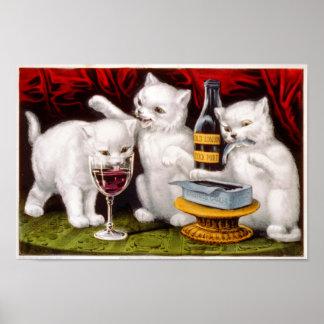 Poster alegre de três gatinhos