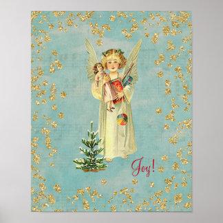 Pôster Alegria do anjo do natal vintage