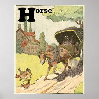 Poster Alfabeto do livro de histórias do cavalo trotando