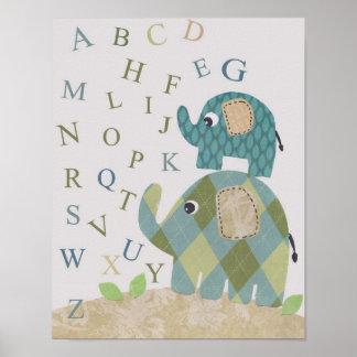 Poster Alfabetos bonitos do elefante da arte da parede do