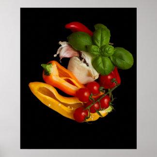 Poster Alho dos tomates da manjericão das pimentas