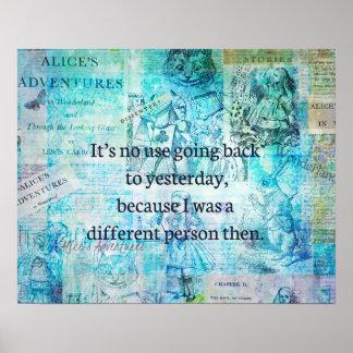 Pôster Alice em citações lunáticas do país das maravilhas