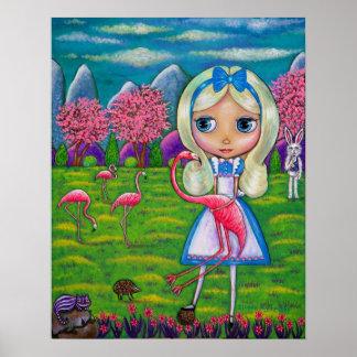 Poster Alice no ouriço do coelho do país das maravilhas &