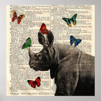 Poster alterado das borboletas do rinoceronte da a