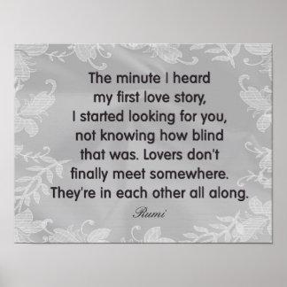 Poster Amantes todos avante -- Citações de Rumi --