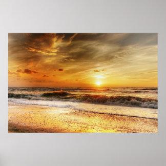 Poster amarelo da parede da natureza do beira-mar