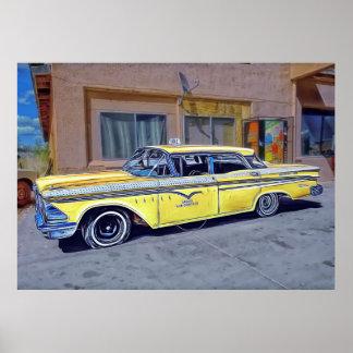 Poster amarelo do táxi de Havana