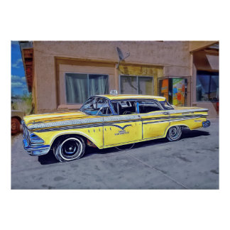 Poster amarelo do táxi de Havana Pôster