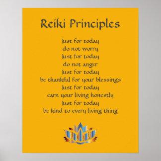 Pôster Amarelo dos princípios de Reiki/mostarda /Gold