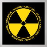 Poster amarelo & preto do símbolo da radiação