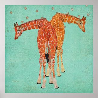Poster ambarino da noite estrelado dos girafas