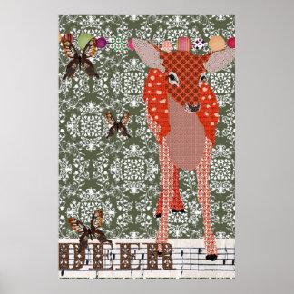Poster ambarino dos cervos do damasco verde-oliva