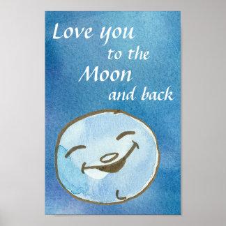 Pôster Ame-o à lua e à parte traseira