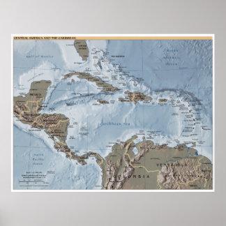 Pôster América Central e o mapa das caraíbas