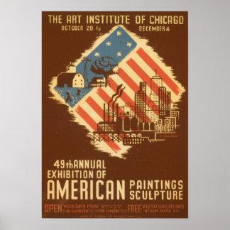 Poster americano da exposição do vintage