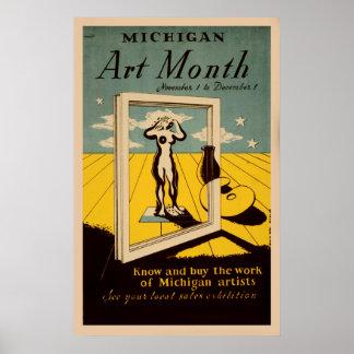 Poster americano de WPA do vintage do mês da arte Pôster