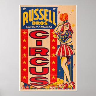 Poster americano do circo de Russel Bros maior