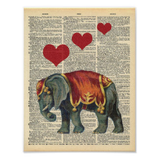 Pôster Amor do elefante do circo da arte do dicionário do