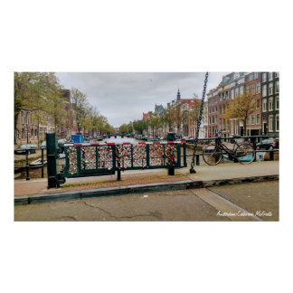 Pôster Amsterdão, ponte holandesa do fechamento do amor