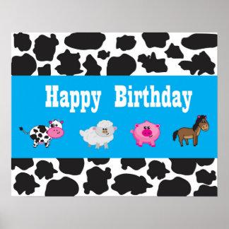 Pôster Animal do Barnyard - fazenda - partido - sinal -