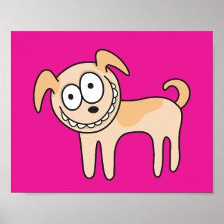 Poster animal engraçado do rosa quente dos desenho