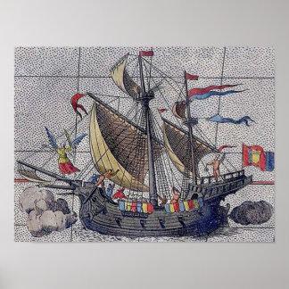 Poster Anjo do navio de navigação dos mares
