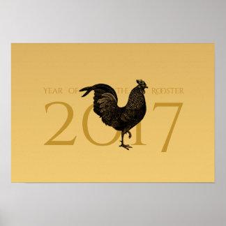 Pôster Ano novo chinês do galo elegante do vintage P 2017