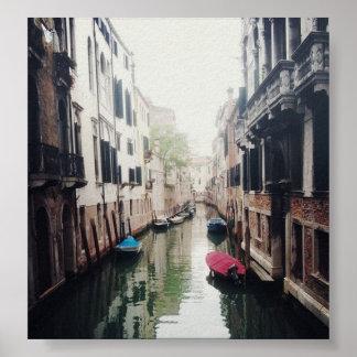 Poster antiquado do canal de Veneza
