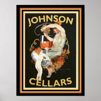 Poster Anúncio 12 x 16 do vinho do vintage das adegas de