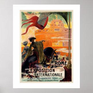Pôster Anúncio 1911 antigo do viagem da expo de Roma do