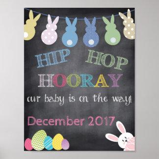 Poster Anúncio da gravidez da páscoa de Hip Hop Hooray