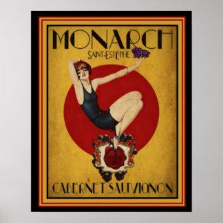 Pôster Anúncio do art deco para o monarca Cabernet 16 x