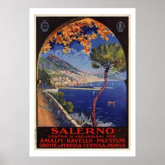 Pôster Anúncio do viagem do verão do vintage de Salerno