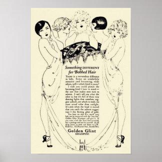 Poster Anúncio dourado do champô do vintage
