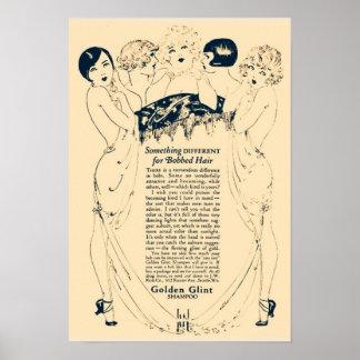 Pôster Anúncio dourado do champô do vintage