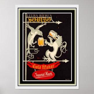 Pôster Anúncio imperial 12 x 16 da cerveja do falcão
