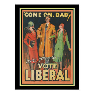 Pôster Anúncio político liberal 12 x 16 de 1929 votos