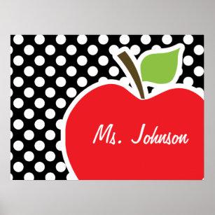 Psteres bolinhas preto e branco impresses e arte bolinhas preto e pster apple em bolinhas preto e branco thecheapjerseys Images