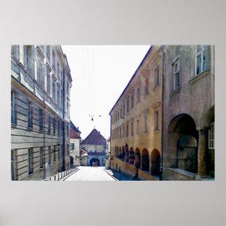 Poster Aproximando a porta de pedra em Zagreb