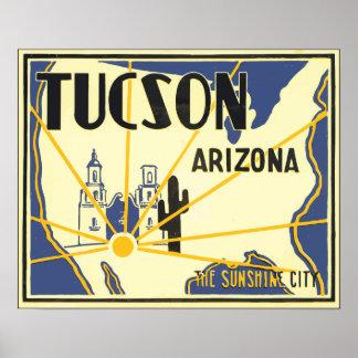 Poster Arizona de Tucson a cidade da luz do sol, vintage