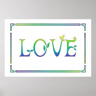 Pôster Art deco amarelo, verde, azul Amor-Colorido